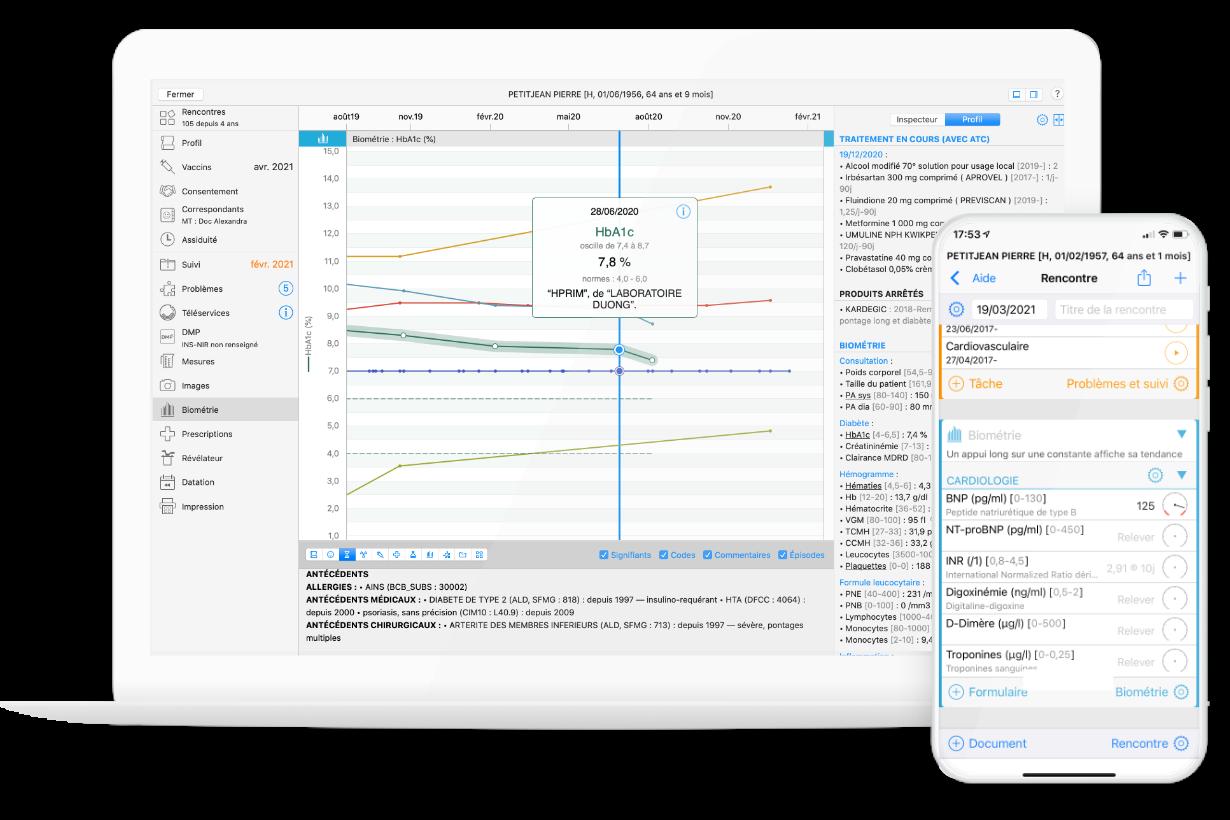 Captures d'écran Mac et iPhone du logiciel médical MédiStory