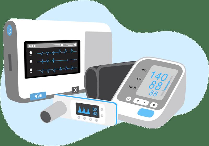 illustration de dispositifs médicaux connectés